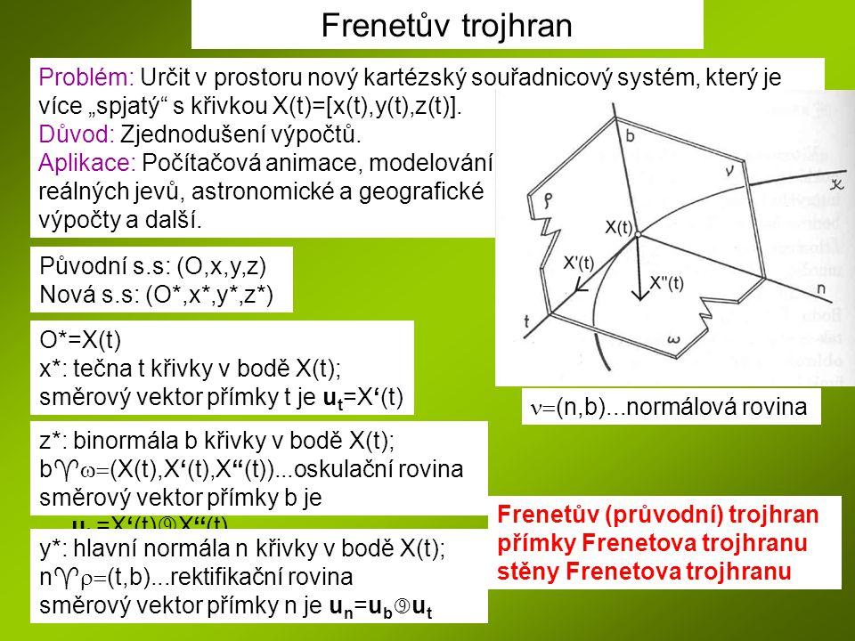 """Frenetův trojhran Problém: Určit v prostoru nový kartézský souřadnicový systém, který je. více """"spjatý s křivkou X(t)=[x(t),y(t),z(t)]."""